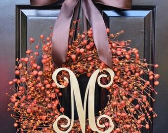 FALL WREATH SALE Thanksgiving Wreath- Fall Wreath- Thanksgiving Wreaths- Pumpkin Berries- Indoor Wreath- Autumn Decoration- Orange Berries-