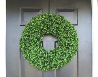 WREATH SALE Realistic 20 inch Faux Boxwood Wreath (sizes 14 to 30 inches available)- Wedding Door Decor- Spring Wreath