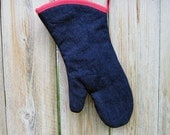 Oven mitts | Blue Denim | Flower lining | Oven gloves | Hot gloves | Single or set | Choice of Trim - Made to order