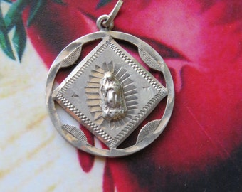 STUNNING 1945 Vintage 720 Mexican Silver - GUADALUPE  6.2g Pendant -- Souvenir from the Basillica- one of a kind