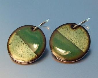 ENAMEL CIRCLE Two Tone Green Earrings gift for her round dange earrings metalic green