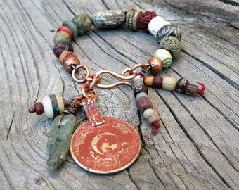 Boho Tribal Beaded Bracelet, Chunky, Earthy, Handmade, Adjustable Bracelet with Dangles