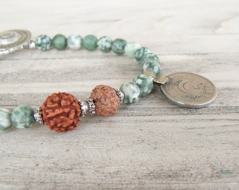 Gypsy Mala Bracelet - Boho, Gemstone, Stacking Bracelet, Green Tree Agate, with Old Coin Charm and Rudraksha Prayer Beads