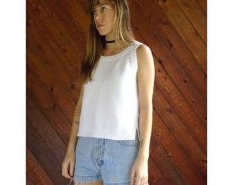 White Cotton Sweater Knit Tank Top - Vintage 90s -  S
