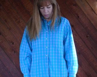 30% off ... Green Purple Plaid Flannel Long Sleeve Shirt- Button Down - Vintage 80s - MEDIUM LARGE M L