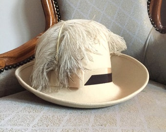 Cream Wool Felt Cloche Hat with Feather and Brown Ribbon Stripe Trim - Vintage 40s 50s