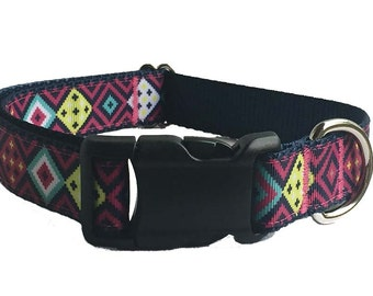 """1"""" Aztec Colorful Dog Collar Buckle or Martingale"""