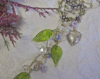 Hearts and Flowers: Y Necklace Crystals Lavender Peridot Green Vintage Assemblage Leaves Interlocked HEART CHAIN Gold Monet Brooch