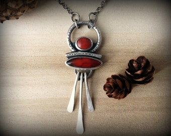 carnelian and red jasper necklace, sterling silver, bohemian necklace, gypsy necklace, ready to ship