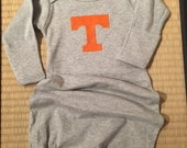 Tennessee Volunteer baby gown.  UT baby gown.  Monogrammed gray baby gown.  Infant baby gown, 0-3 month.