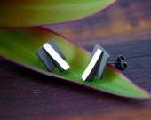 3d Architecture Inspired Black Sterling Silver Stud Earrings ...OOAK