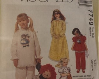 Easy McCalls Toddler Girls' nightgown and Pajama Size 6,8