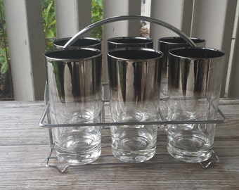 Set of 6 Dorothy Thorpe Silver Ombre Fade Tumblers in Carrying Rack