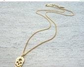Sale 20% OFF Tiny Dolores Necklace, Halloween jewelry, minimalist skull pendant charm necklace