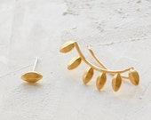 Yucca Ear Climbers, Leaves Ear Climber, Asymmetrical Earrings, Tribal Jewelry, Tribal Earrings, Leaves Earrings, Gold Plated, Silver Plated