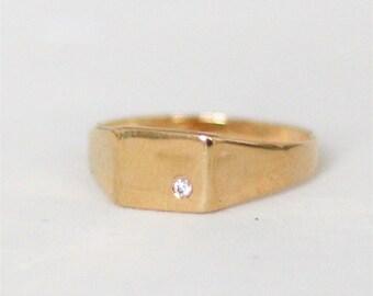 14k Gold Square Signet diamond Ring, Diamond Rectangular Gold Ring, Stacking Gold Ring, Diamond Wedding Ring, Engagement Ring, Altenative