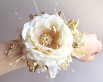Prom Gold & Ivory Gatsby Wrist Corsage with matching Boutonniere