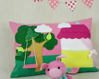 Playful Pillow with Piggy in the House