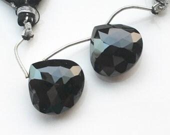 Large Faceted Black Spinel Briolettes - Pair