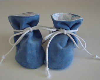 Blue corduroy TV baby booties/soft sole shoes SIZE SMALL