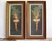 2 Vintage Ballerina pictures Mid Century Cottage Chic Shabby Chic Wedgefield Pictures Home decor Wall decor Retro Dance Girl's room Woman