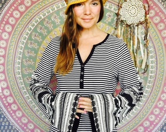 Striped Native Print Bell Sleeve Tee Eco Friendly Bell Sleeve Hippie Top Shirt Upcycled Eco Friendly Tee Tshirt  Size XL