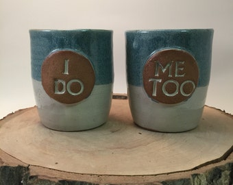 Handmade Ceramic Set of Tumblers, Cups, Beer Glass - I Do, Me Too - Wedding or Engagement - Ivory and Antique Blue