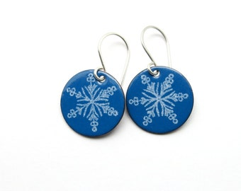 Blue Snowflake Earrings - Blue Enamel Dangle Earrings - Winter Jewelry - Christmas Gift for her