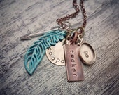 Rustic Feather and Arrow Charm Necklace