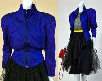 80s IIF Blue Space Age Jacket With Black Pipping Detail | Small