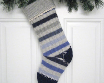 Blue Striped Customized Christmas Stocking Personalized Holiday Decoration Handcrafted from Felted Wool Sweaters no356