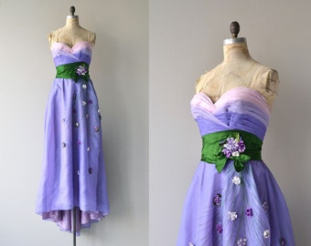Philip Hulitar gown | vintage 1940s dress | strapless 40s formal dress
