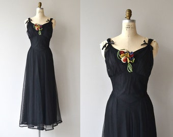 Bona Nox dress | vintage 1930s dress | long formal 30s dress