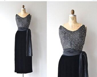 25% OFF.... Marquise sequin and velvet dress | vintage 1950s dress • beaded long 50s dress