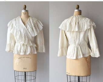 25% OFF.... Calla silk blouse | Victorian silk blouse | antique 1800s ruffled blouse