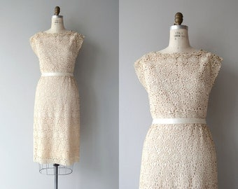 Parchement Flower dress | vintage 1950s dress | cream lace 50s dress