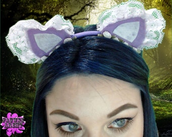 Roses and Lace Cat Ear Headband Kitten Play Cosplay