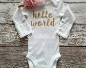 NEW Newborn Take Home Outfit Baby Girl Hello World Bodysuit Headband LolaBeanClothing Gold Dusty Rose Pink