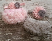 TWINS Twin Baby Girls Grey Pink Bloomers Gray Flower Headband Set Newborn Photography Prop NB newborn