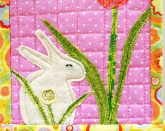 mini rabbit wall quilt-  white rabbit on pink with tulip for Easter and Spring - free shipping to USA - Ready to Ship
