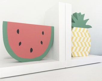 Fruit Bookends, Watermelon and Pineapple Bookends, Tutti Frutti Nursery, Summer Decor, Children's Bookends, Pineapple, Watermelon, Fruit