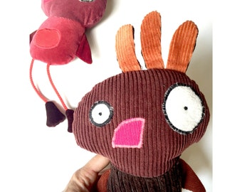 Plush Bird,Recycled Fabric, Quirky Chicken doll, Velvet Red or Brown