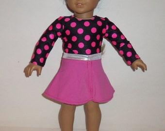 American Made, Girl Doll Leotard, Black Pink, Polka Dots, Skater Dance Skirt,  Dancewear, Gymnastics, 18 Inch Doll Clothes