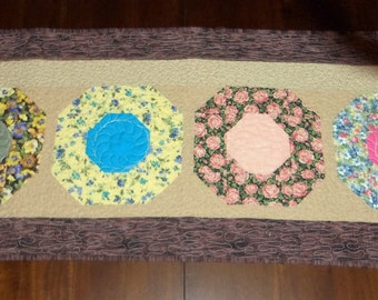 Quilted Table Runner, Fine China, Quilted Table Topper, Sale Priced, 19x50 Inches,  Machine Quilted, Dining Table Decor