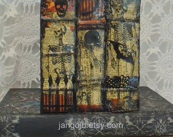 Vintage Style Halloween Books Tissue Box Cover....Unique Layered Skeletons, Bats, Trees, Skulls