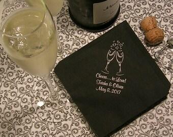 personalized napkins wedding napkins cocktail napkins personalized wedding napkins champagne toast Set of 50 napkins