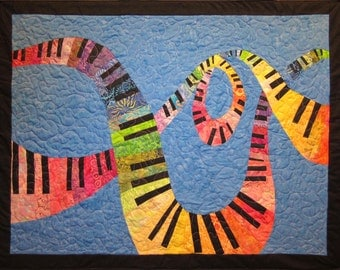 Colorful Piano Keyboard Music Wall Hanging Art Quilt