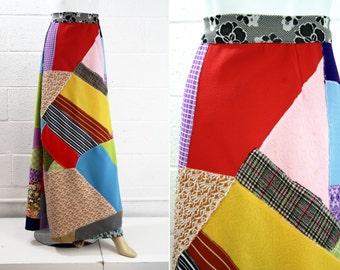 70's Vintage Patchwork Long Maxi Skirt