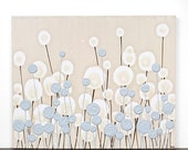 ON SALE Blue Art Abstract Painting - Minimalist Textured Flowers on Canvas - Small 20x16