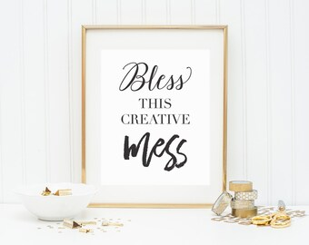 Bless This Creative Mess Office Photo Print Wall Art